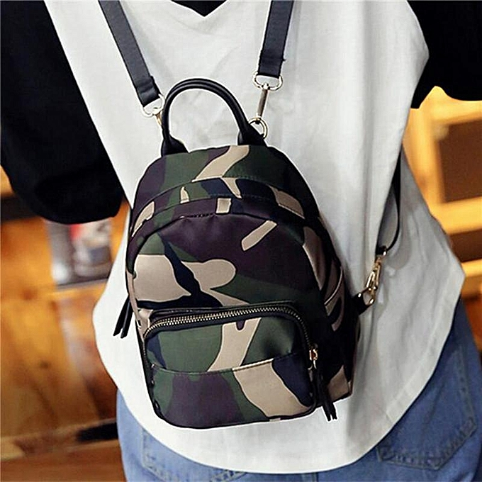 1c8340bab43a Women Mini Backpack Nylon Shoulder School Travel Bag Small Casual Rucksack  Tote Camouflage ...