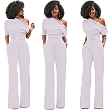 77361d1424b Fashion Women S One Shoulder Solid Jumpsuits Wide Leg Long Romper Pants  With Belt