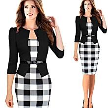f88b595957df 3 4 Sleeve Women Office Dress Plus Size Faux Jacket One-Piece Bodycon  Vestidos