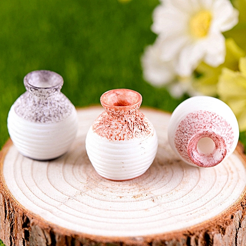 Resin Miniature Small Mouth Vase DIY Craft Accessory Home Garden Decoration