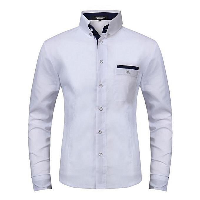 2ea2a9de26e42f Podom Men Shirt Casual Business Men's Clothing Slim Fit Shirts Long Sleeve  Cotton Formal Social Men