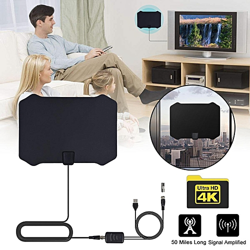 Digital Indoor HDTV TV Antenna With Aerial Amplified 50 Mile Range VHF UHF