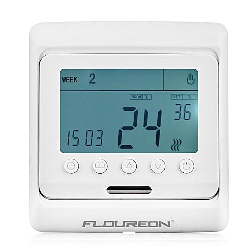 Floureon Digital Temperature Controller Thermostat LCD Display White - White