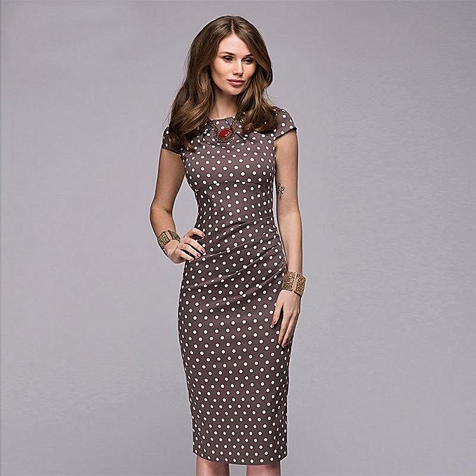95dc98e403f Fashion Women s Elegant Short-sleeved Wave Point Pattern Dress Print Dress  Pencil Dresses - Brown. By Fashion