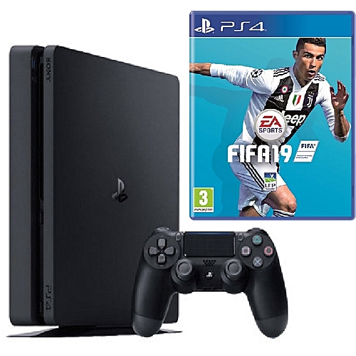 PlayStation 4 Console Slim 500GB + Fifa 19 Game