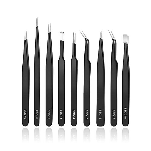 9 Piece Anti-Static Tweezers Set - Black