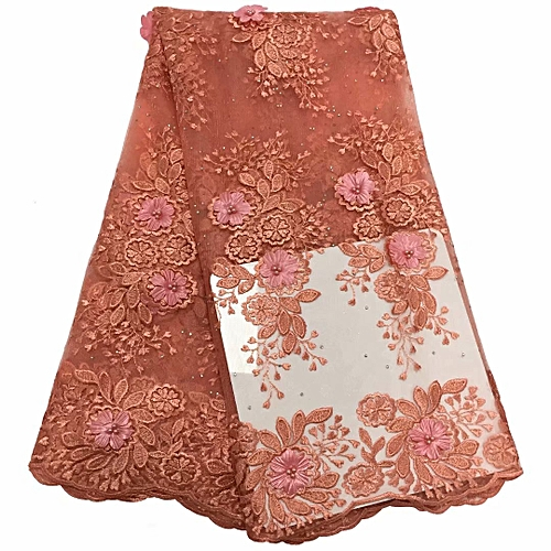 Fancy Design Embroidery French Lace 5 Yards Peach Lace