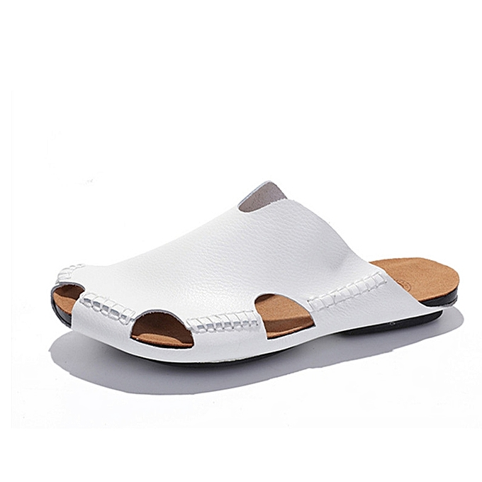 00ab0a0d767 Men Slippers Men Leather Casual Close Toe Slipper High Quality Soft Leather  Sandal Summer Shoes Beach