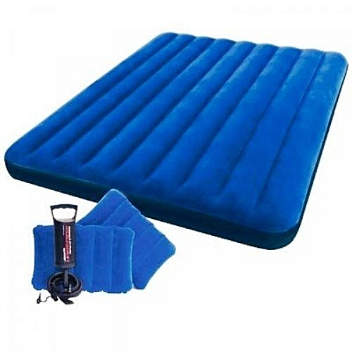 Twin Size Classic Downy Inflatable Air Bed Mattress -Blue