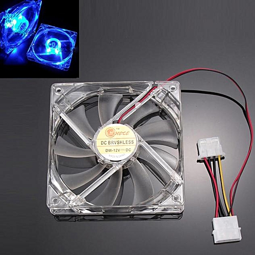 Muliawu Store Blue Quad 4-LED Light Neon Clear 120mm PC Computer Case Cooling Fan Mod-Clear