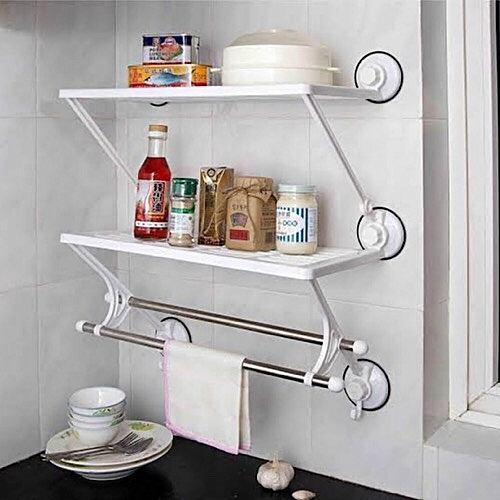 Bathroom And Kitchen Storage Rack With Towel Bar