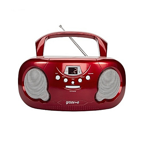 Portable CD Player Boombox With AM/FM Radio Red