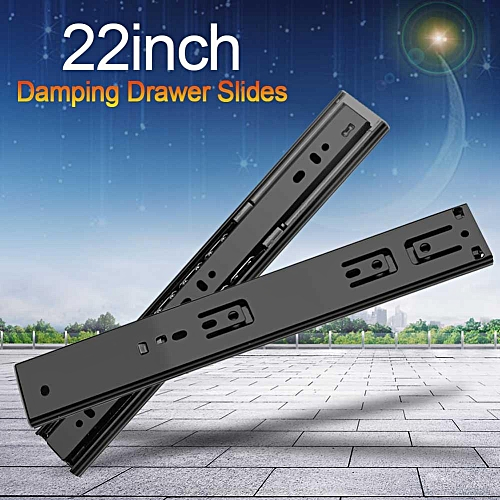2pcs Damping Drawer Slides Full Extension Furniture Wardrobe Kitchen Cupboard Accessory 22in