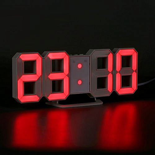 Red LED Digital Numbers Wall Clock - Red
