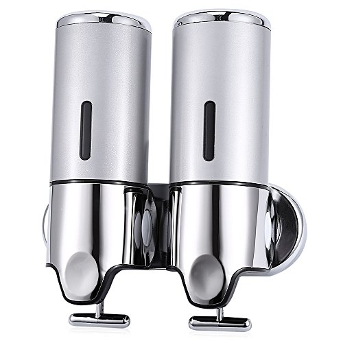 Stainless Steel Wall Mounted Dual Soap Dispenser-Silver