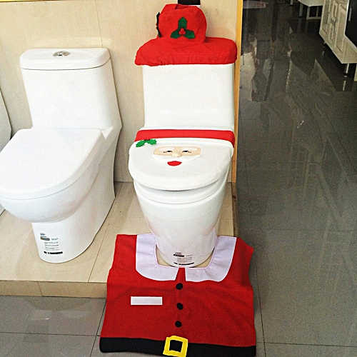 Santa Claus Bathroom Toilet Seat Cover And Rug Set Bathroom Decoration For Christmas