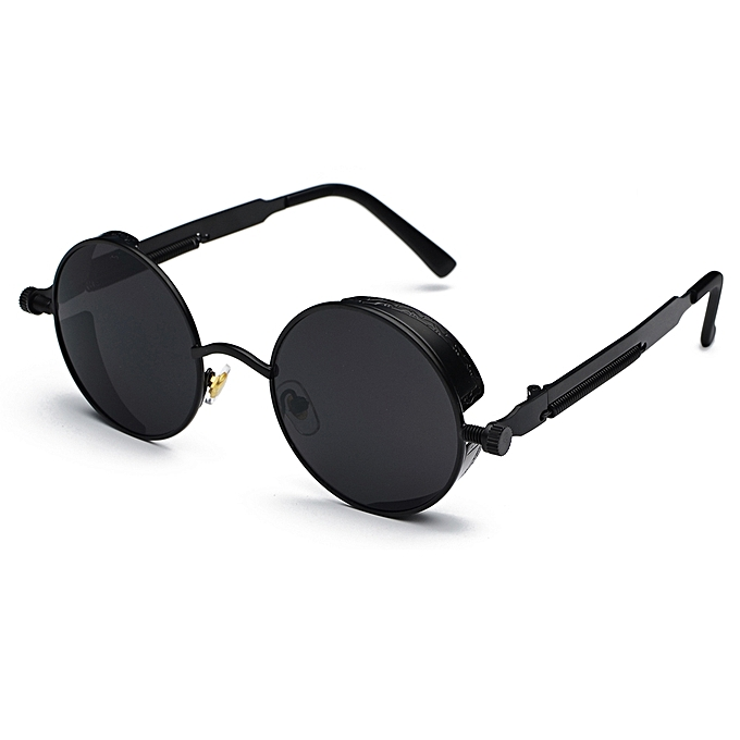 da6b9cb5028 Peekaboo Metal Round Steampunk Sunglasses Men Women Fashion Summer 2018  Round Sun Glasses For Women Unisex-Full Black