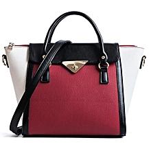 1605bfb00 Women Fashion Big Leather Shoulder Handbag - Black And Red