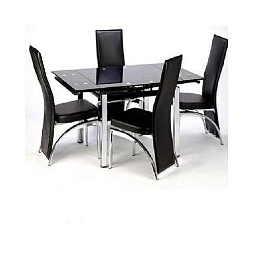 Extendable Glass Dining Table With 4 Chairs - Black ( Nationwide Delivery)