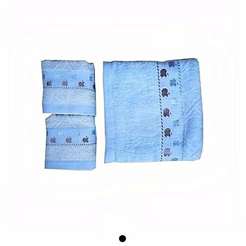 King Set Of 3 Baby Towels - Blue- Design Varies