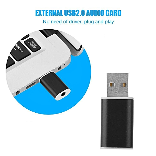 External USB Sound Card External USB 2.0 To 3.5mm Stereo Audio Sound Card Mic Adapter Speaker (Black)