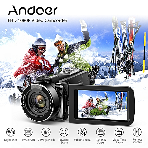 """FHD 1080P Portable Digital Video Camecorder Camera Infrared Night Vision 3.0"""" Rotating LCD Screen 16X Digital Zoom 24MP With External Microphone Mount Remote Control"""