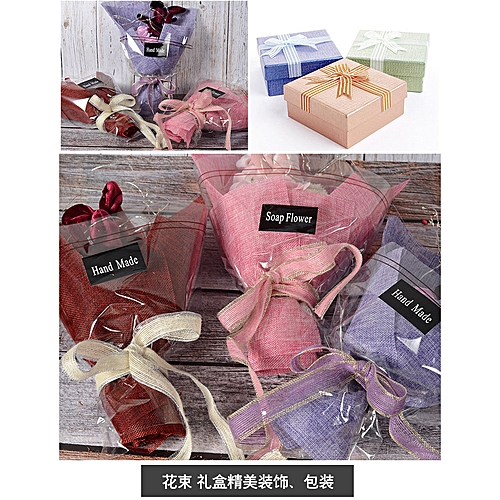 Colored Silk Ribbon Flower Gift Box Packaging Decoration