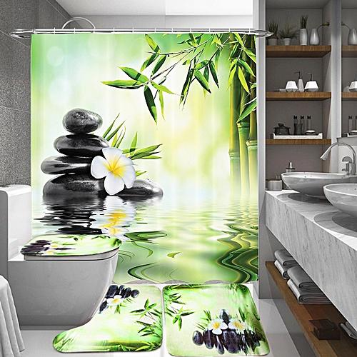 Bathroom Shower Curtain Toilet Cover Mat Non-Slip Rug Set