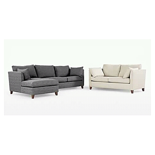 PAWA FURNITURE 5-SEATER GRAY + CREAM DOUBLE SEATER FABRIC SOFA SET - Red + Free Ottoman (Delivery To Lagos Only)