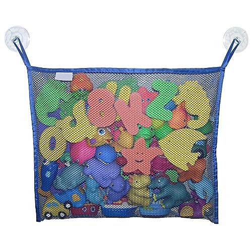 Bath Toy Organizer Mesh Storage Hanging Bag + 2 Bonus Strong Hooked Suction Cups Dark Blue