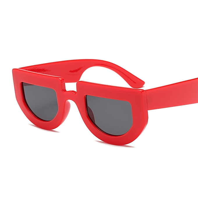 7e514392ac86 Peekaboo Retro Half Round Sunglasses Women Thick Frame Ladies - Red ...