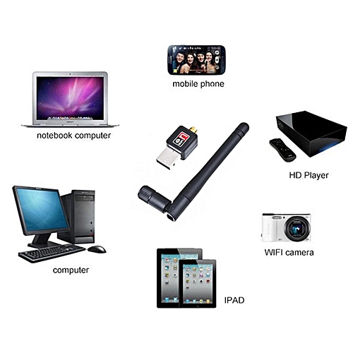 USB 150/Mbps Wireless N Adapter With Antenna Black