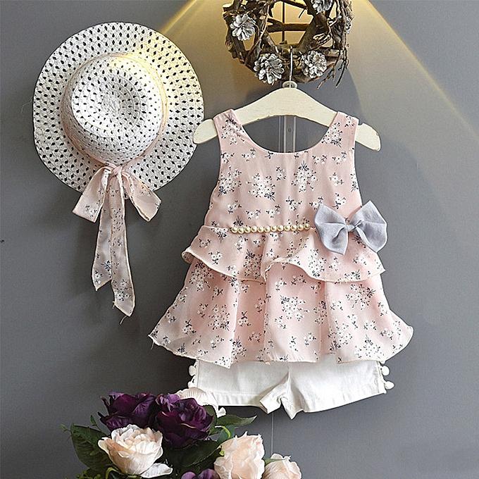 d43d61171f9d7 2019 Kids 3PCS Toddler Baby Kid Girl Outfits Clothes Floral Vest  T-shirt+Pants+Sun Hat Set Musiccool