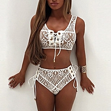 e06b87913b Womens Ladies Lace Bra Triangle Bikini Sets Bandage Beachwear Swimsuit  Swimwear