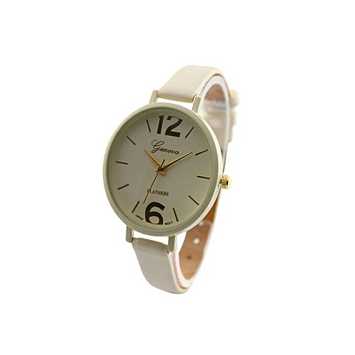 Geneva  Ladies Women Female Leather Wrist Watch-cream