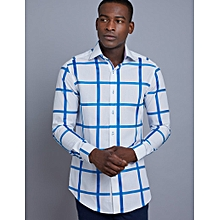 430303b4d7540 Men  039 s White  amp  Blue Large Check Slim Fit Shirt - High
