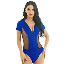 f07208b0bf6 Womens One-piece Short Sleeve Zipper Fishnet Splice Swimwear