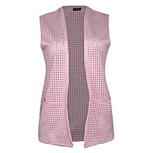 bd8ba311246 Full Length Sleeveless Pocket Pointelle Jacket - Baby Pink