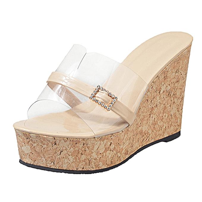 00b21923b5 Bliccol High Heel Shoes Women Summer Transparent Slipper Height Increasing  Wedges Platform Sandals Shoes- Beige