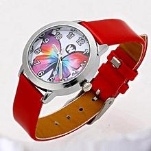 1ac0af234 Butterfly Cartoon Watch Kids Children Wrist Watches Girl PU Leather Strap  Students Quartz Watch Clock Cute