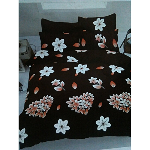 Floral Patterned Bedsheet With 4 Pillowcases - Multicolor