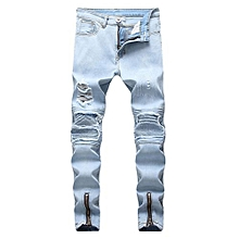 7892759b22bf Men  039 s Jeans New Locomotive Knee Pleated Hole Side Zip Stretch Feet Men