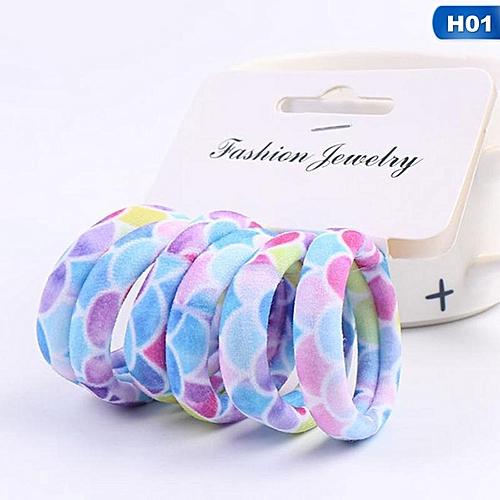 Eleganya 6 Pcs/Set Boutique High Elasticity Fine Printing Female Soft Hair Rope