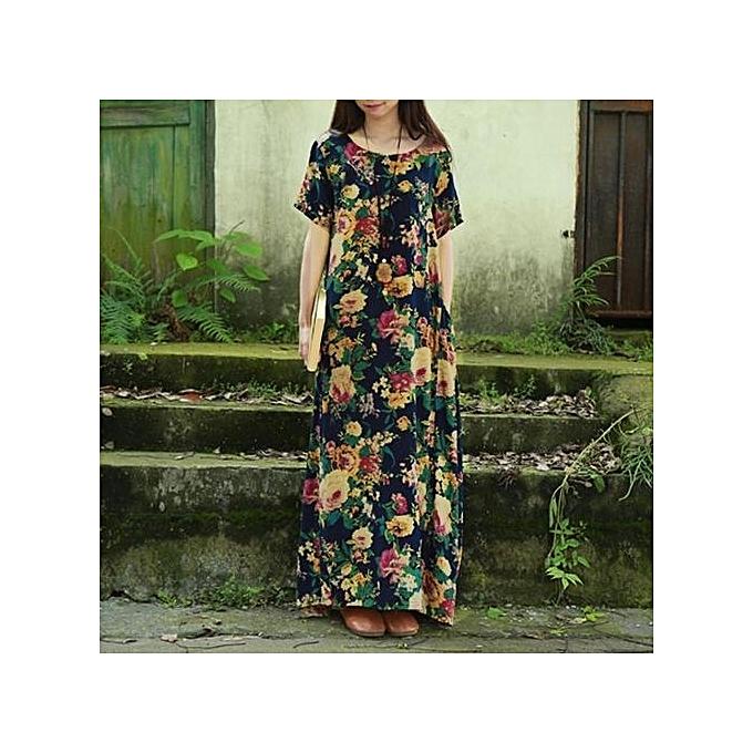 4557fdd5be2 ZANZEA Womens Summer Floral Print Short Sleeve Casual Loose Kaftan Maxi  Long Dress Vestido Plus Size