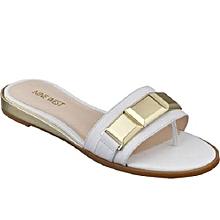 9027b79971e5 Women  039 s Fancy Leather Flat Slippers- White ...