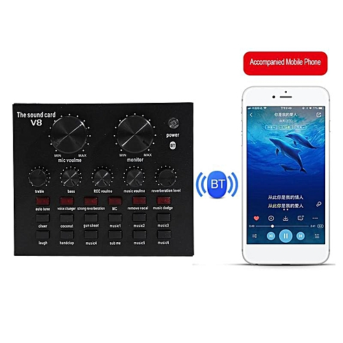 V8 Audio Bluetooth USB Headset Mic K Song Stereo Live Broadcast Sound Card