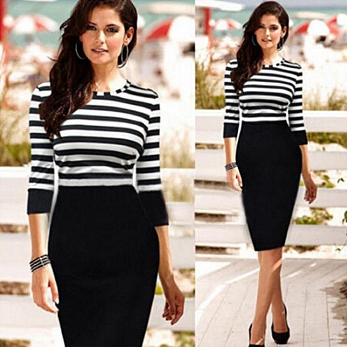 acbeaffa0 Morden Women's Midi Dresses Comfortable Office Wear To Work Plus Size Half  Sleeve Striped Pencil Dress