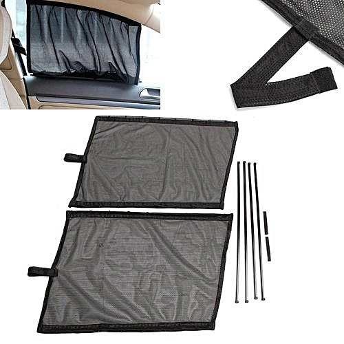 2Pcs Black Car Sun Shade Curtain UV Proof Side Window Mesh Style Curtain Visor