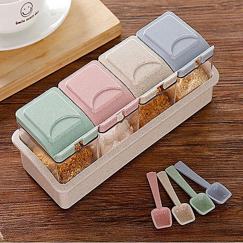 4Pcs Set Spice Jar Condiment Storage Seasoning Bottle Container Kitchen Color Mixing