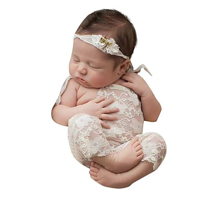 ae5d8fe5a3f Fashion Newborn Baby Photography Props Lace Romper Bowknot Jumpsuit ...